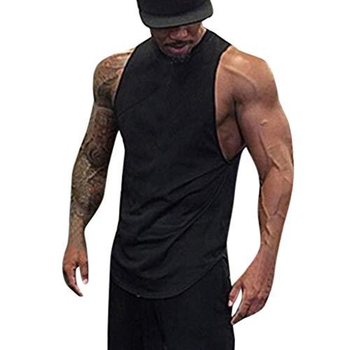 Solid Vest, Men's Bodybuilding Fitness Leisure Exercise Running Elastic Training Bottoming Shirt