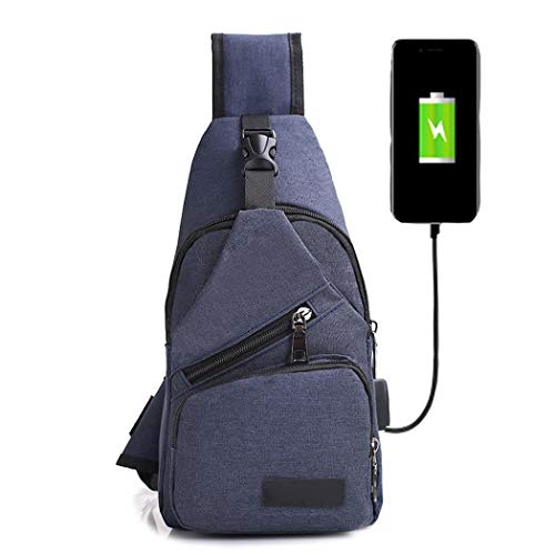 Almost Sling Bag,Mens Canvas USB Rechargeable Chest Bag Small Backpack Daypack Sack Satchel Messenger Bags