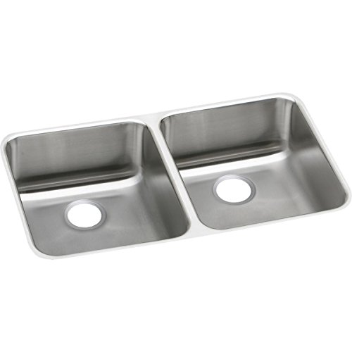 (Elkay Lustertone Classic ELUHAD321655 Equal Double Bowl Undermount Stainless Steel ADA Sink)
