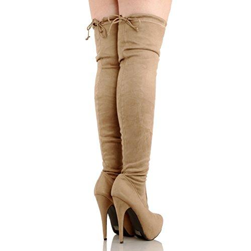 Guilty Schuhe Damen Sexy Pull Up Stiletto Slouchy High Heel - Overknee Oberschenkel Hohe Stiefel Taupe Wildleder