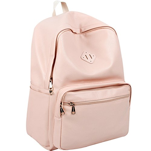 Cheap Copi Women's Simple Design Unisex Fashion Casual Daypacks School Backpacks Pink