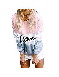 Women Letter Color Block Crew Neck Long Sleeve Pullover Sweatshirt Hoodies Tops