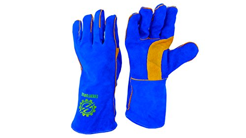Welding Gloves 14'' for Arc, MIG and TIG Welders with 1 Steel Welding Rod - Heavy Duty Reinforced Kevlar Stitching, Extreme Heat Resistant Double Insulation, One Size - S, M, L, XL, XXL- Blue by Everforge (Image #2)
