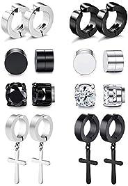 8 Pairs Magnetic Stud Earrings for Men Women Stainless Steel Hoop Cross Non Piercing Fake Gauges Earring Black