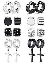 8 Pairs Magnetic Stud Earrings for Men Women Stainless Steel Hoop Cross Non Piercing Fake Gauges Earring Black CZ Hypoallergenic Magnet Earring Set