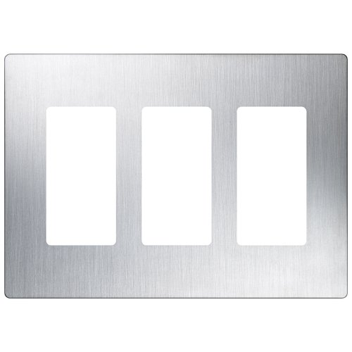 Stainless Steel Gang Plate (Lutron CW-3-SS 3-Gang ClaroWall Plate, Stainless Steel)