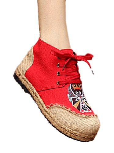 Soojun Kvinners Snøre På Espadrilles Elegante Lerret Flat Ankel Boots 4 # Rødt