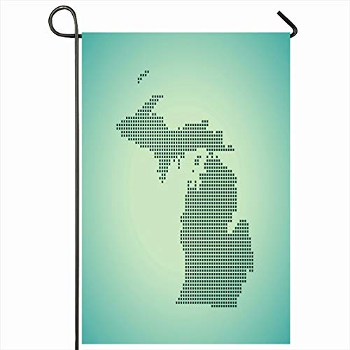 Ahawoso Garden Flag 12x18 Inches Topographical America Map Michigan Abstract Cartography County Federal Geography Location Design Outdoor Seasonal Home House Yard Sign Double Sides Printed Banner
