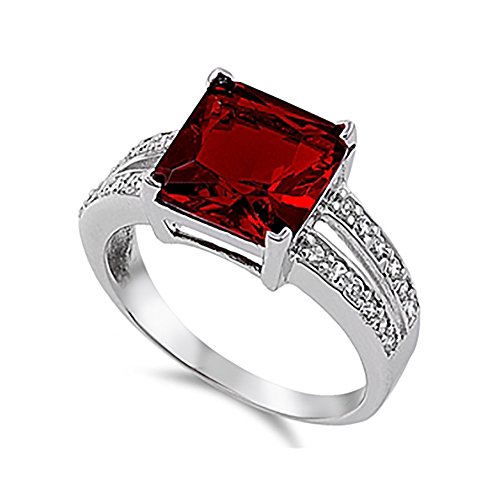 Blue Apple Co. Split Shank Engagement Ring Princess Cut Simulated Red Garnet Round CZ 925 Sterling Silver