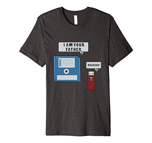 Mens USB Floppy Disk Funny Geek T-Shirt Computer Nerd Shirt Large Dark Heather (Nerd T Shirts)