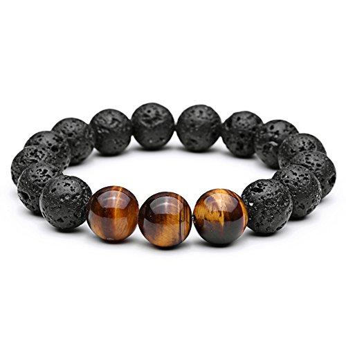 ZHEPIN 12mm Mens Fashion Bracelet Tiger Eye Lava Stones Healing Energy Beads Yoga Handmade Meditation Bracelet with Gift Box