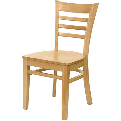 - Modern Style Wood Dining Chairs School Bar Restaurant Commercial Seats Ladder Back Design Solid Beech Hardwood Frame Home Office Furniture - (1) Natural Wood Seat/Natural Wood Frame #2175