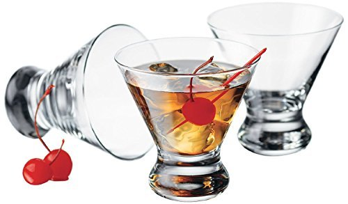 Libbey Cosmopolitan Cocktail/Martini Glasses, 8 Ounce, Clear, Set of 8 (Glasses Cosmo Stemless)