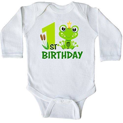 inktastic - 1st Birthday Prince Frog Long Sleeve Creeper 18 Months White ()