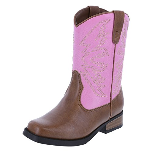 SmartFit Girls' Pink Tan Girls' Toddler Aubrey Western Boot 7.5 Regular (Toddler Pink Cowboy Boots)