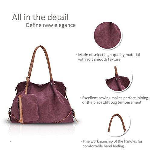 New amp;Doris Shoulder Style Nicole Canvas Handbag Piece Ladies Big Coffee Bag Red Three Dark Women Preppy qFfdd5wA