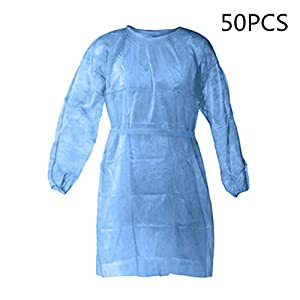 Disposable Protective Clothing, Medical Isolation Gowns, Blue Protective Coverall – Elastic Cuffs with Waist and Neck Tie Closures – Non-Sterile Examination Gowns for Women Men (Blue,50PCS)