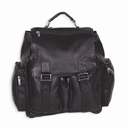 Best Birthday Gift Black Leather Back Pack w/ Laptop Sleeve