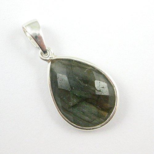 Bezel Gem Pendant with Bail - Labradorite -Sterling Silver Teardrop Faceted Gemstone Pendant-29mm