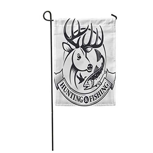 (Semtomn Garden Flag Deer Hunting and Fishing Emblem Label Animal Badge Buck 12