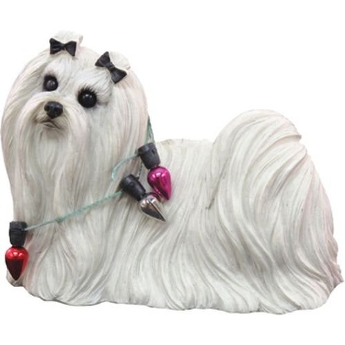 Sandicast Maltese Wearing Holiday Lights Christmas Ornament