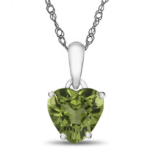 Finejewelers 10k White Gold 7mm Heart Shaped Peridot Pendant ()