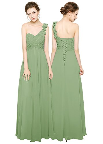 pizzo Spalle schiena Green abito sera da motivo fiori di e feste Sage per anaq5rSw0