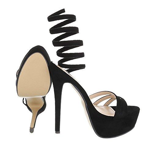 Ital-Design High Heel Sandaletten Damenschuhe Plateau Pfennig-/Stilettoabsatz High Heels Sandalen/Sandaletten Schwarz
