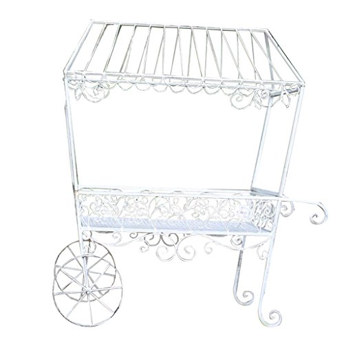 (CSQ White Wrought Iron Flower Stand, Plant Stand Beautiful Pattern Decorative Cart Garden/Balcony/Window/Shopping 793789CM)