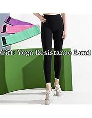 Women Yoga Pants Sports Running Sportswear Stretchy Fitness Leggings Seamless Tummy Control Gym Tights Pants +Yoga Resistance Band,f,L