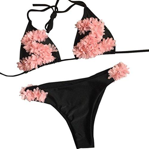 Wintialy Women Sexy Floral Bikini Set Push-Up Padded Swimwear Swimsuit Bathing Beachwear (Black, L)