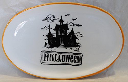 Magenta Ceramic Halloween Salad Appetizer Dessert Oval Small Plate Scary House Bats (Halloween Ceramic Plates)