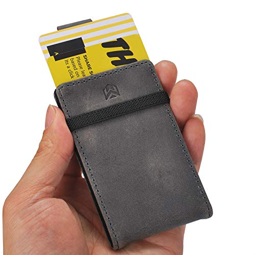Mens Slim Front Pocket Minimalist Wallet - RFID Credit Card Holders NEW DESIGN (Grey Leather, Canvas)