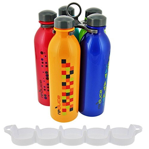 reduce WaterWeek Molecule Reusable Water Bottle Set with Carry Carousel, 16oz (5 Pack) with Bonus WaterWeek Fridge Tray- Compatible with all WaterWeek Styles, BPA-free