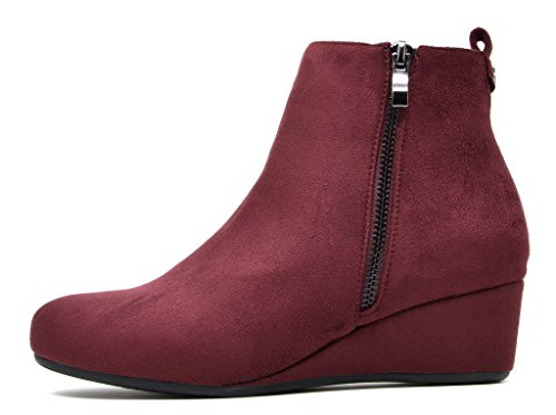 Traumpaare Frauen CINQ Low Wedge Ankle Boots Burgund.