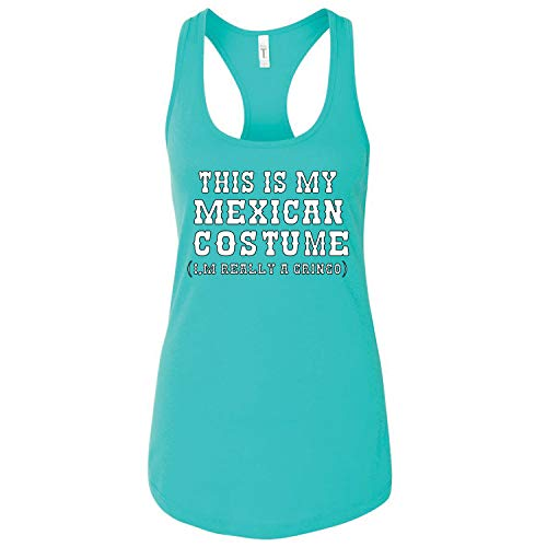 (This is My Mexican Costume Cinco De Mayo Womens Jersey Racerback Tank Top, Tahiti Blue, Large )