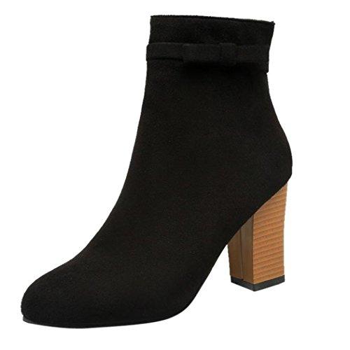 Ankle Snow Inkach Boots Martin Shoes Heel Women Flat Zipper High Winter with Black Irrw8gx