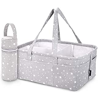 StarHug Baby Diaper Caddy Organizer - Baby Shower Gift Basket | Large Nursery Storage Bin for Changing Table | Car Travel Tote Bag | Newborn Registry Must Have | BONUS - Insulated Baby Bottle Bag