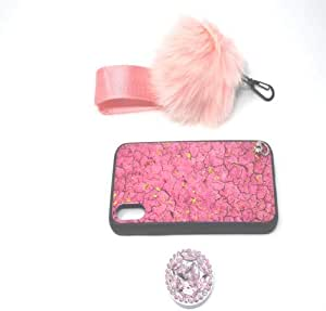 Case For Iphone XR With a Crystal Holder and a Fur Ball Strap