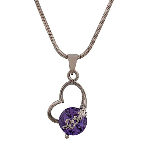 [Maayra American Diamond Pendant Purple Casual Dailywear Jewellery - Class, Rhodium Plated, Brass] (Costume Design Online Classes)