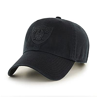 47 Brand Oakland Raiders Clean Up Dad Hat Cap All Black