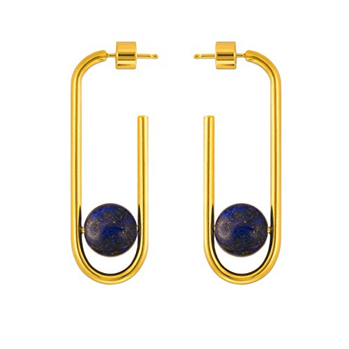(925 Sterling Silver Post 14k Gold Plated Open Cuff Hoop Earrings Natural Gemstone Hooped Stud Post Minimalist Earrings for Women Ladies Girls Gifts (Gold & Lapis Lazuli))