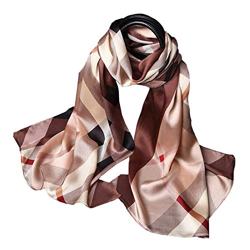 - 100% Pure Mulberry Silk Women Large Long Scarf Shawl Check Style 69