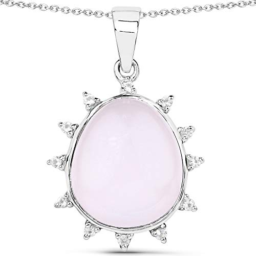 Bonyak Jewelry Genuine Fancy Shape Rose Quartz and White Topaz Pendant in Sterling Silver