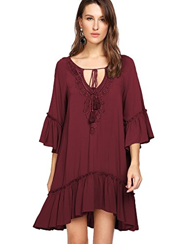 Romwe Women's 3/4 Sleeve Crochet Ruffle Trim Tassel Embroidered Floral Flower Smock Dress Burgundy M (Dress Embroidered Smock)
