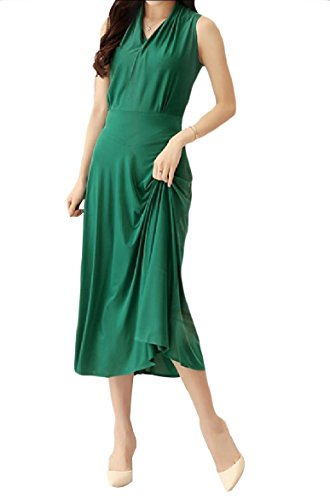 Green Swing Coolred Women Tailoring Long Banquet Printing Slim Sleeveless Dress 55zrxwZq