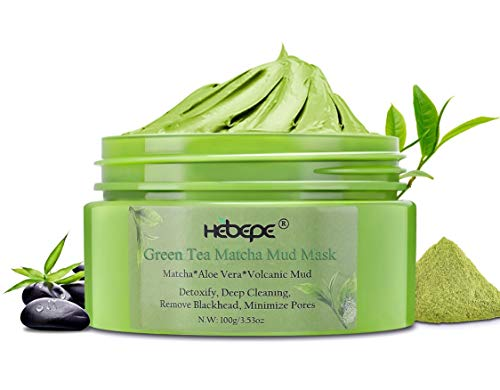 Green Tea Matcha Mud Mask With Aloe Vera 100g, Deep Pore Cleansing Facial & Body Detox Mask, Natural Deep Detox Cleaning Mask Help with Blemishes, Blackheads & Acne