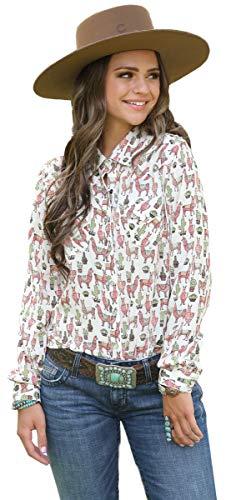 9c9fa841 Cruel Girl Womens Llama Pearl Snap Shirt L Multi