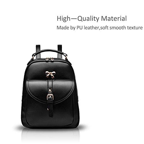 NICOLE&DORIS Moda Mujer Bowknot School Bolsa de viaje mochila Daypack hombro duradero impermeable PU Azul Marino Tejer Negro