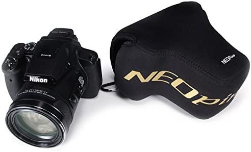 First2savvv QSL-P900S-01G10 Funda Cámara Reflex Neopreno Protectora para Nikon COOLPIX P900S P900 negro + Lector de tarjetas SD